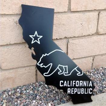 California Wall Art – CA State Flag Sign - Handmade