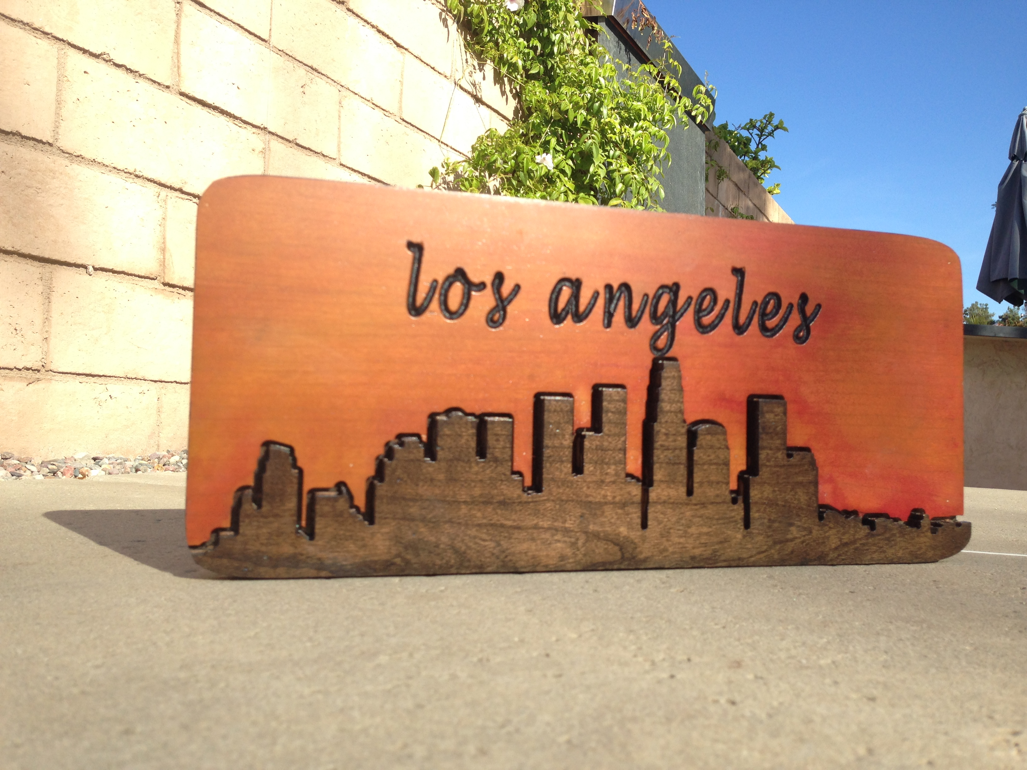 Downtown los angeles city scape hand made wood sign for Used lumber los angeles