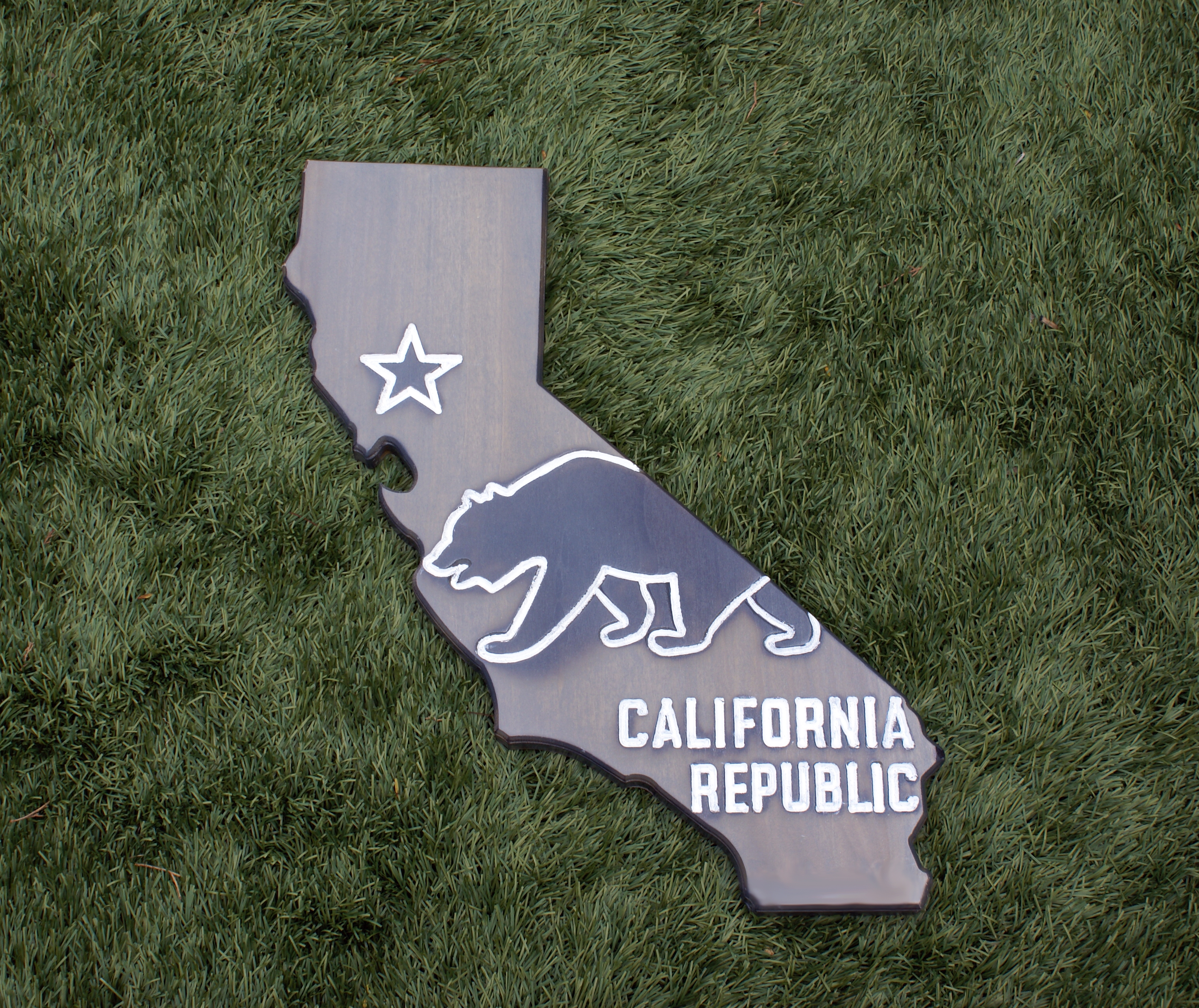 California Wood Sign CA State Flag With Bear Design And Burn Detail